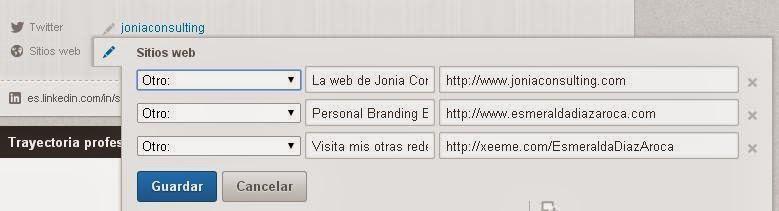 Como insertar backlinks en tus sitios web desde LinkedIn. Esmeralda Diaz-Aroca