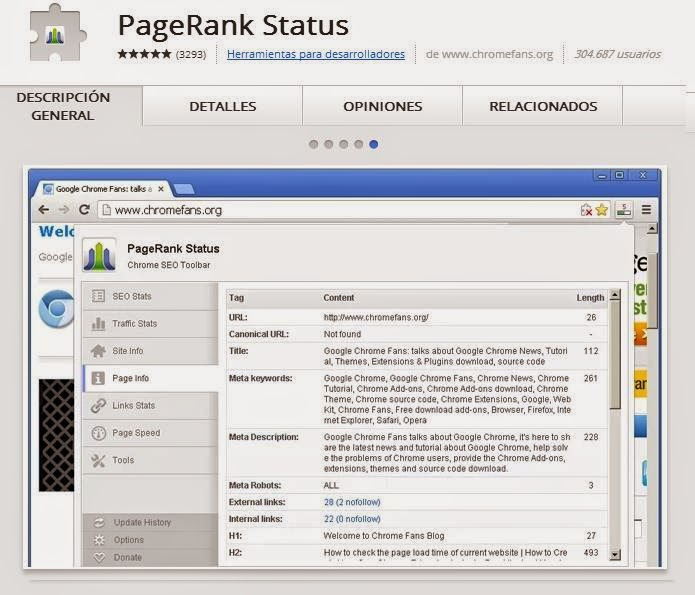 Page Rank Status Extension Google Chrome