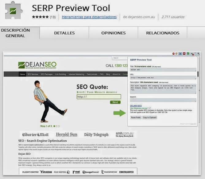 SERP Preview Extension Google Chrome