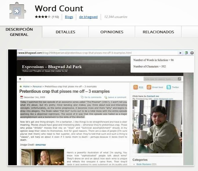 WORD COUNT Extension Google Chrome