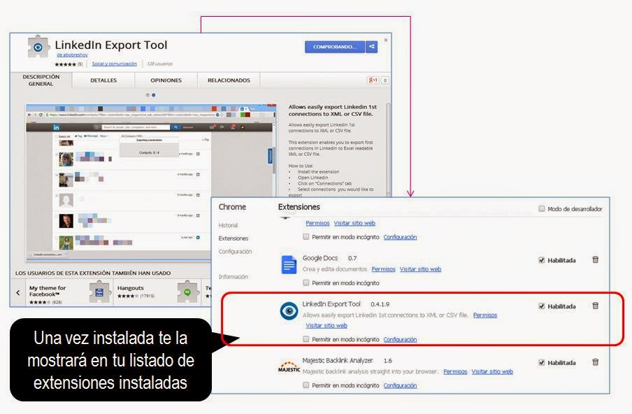 LinkedIn Export Tools. Esmeralda Diaz-Aroca autora libro Perfil 10 LinkedIn