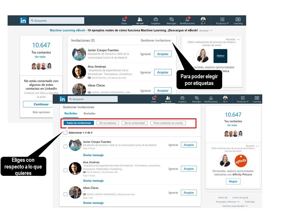 LinkedIn - opción ver más para seleccionar contactos