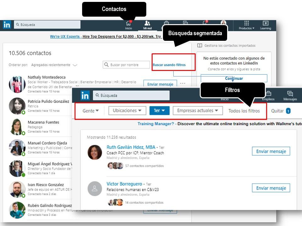 LinkedIn - opciones para seleccionar contactos