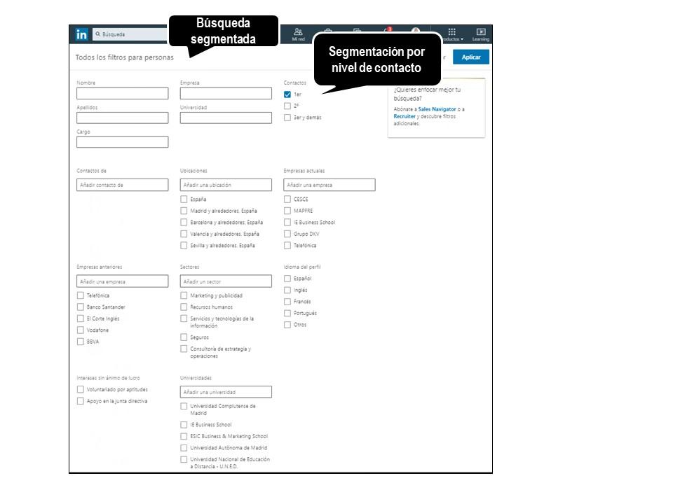 LinkedIn - búsqueda segmentada de contactos