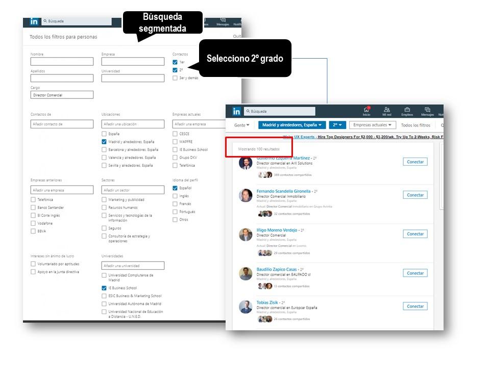 LinkedIn - añadir contactos por nivel de relación
