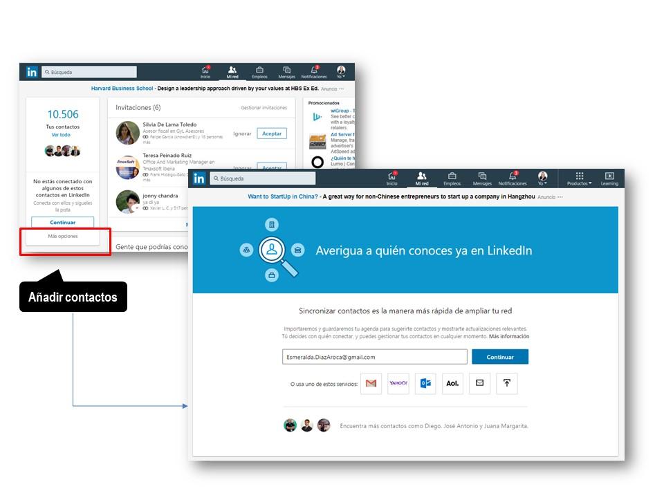 Menú de LinkedIn para añadir contactos