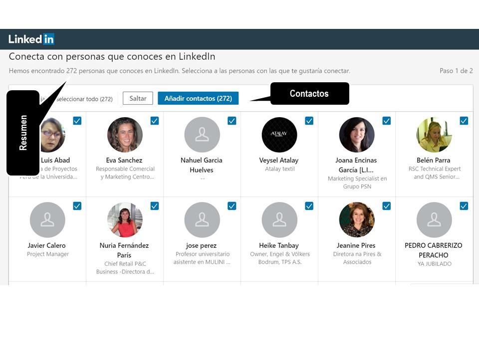 LinkedIn - sugerencias de contactos para añadir a tu lista