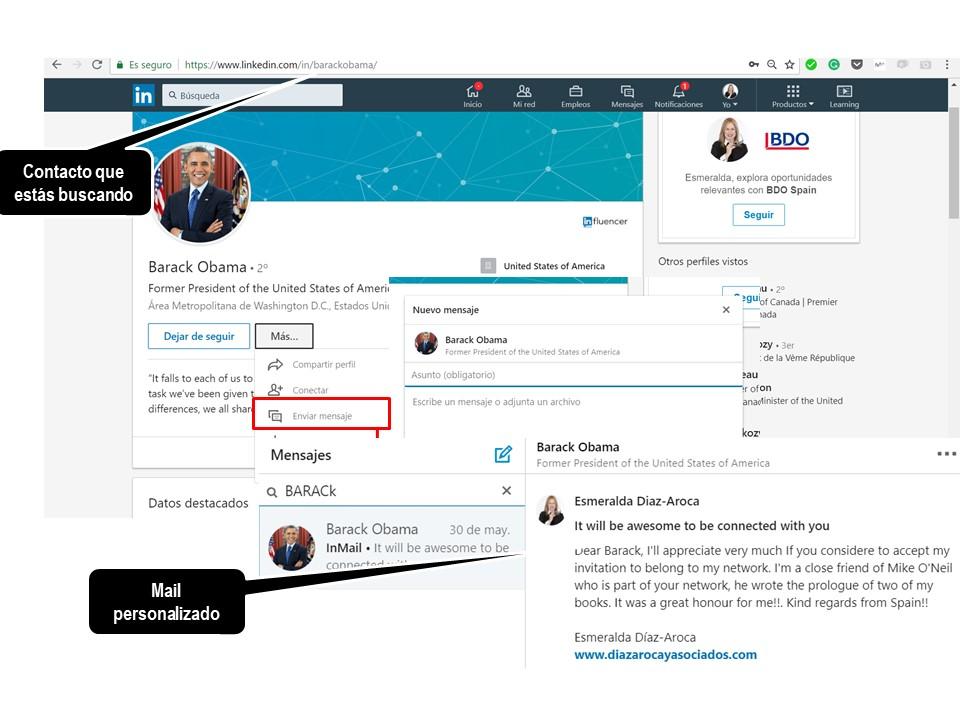 Menú en LinkedIn para enviar InMail a posibles contactos