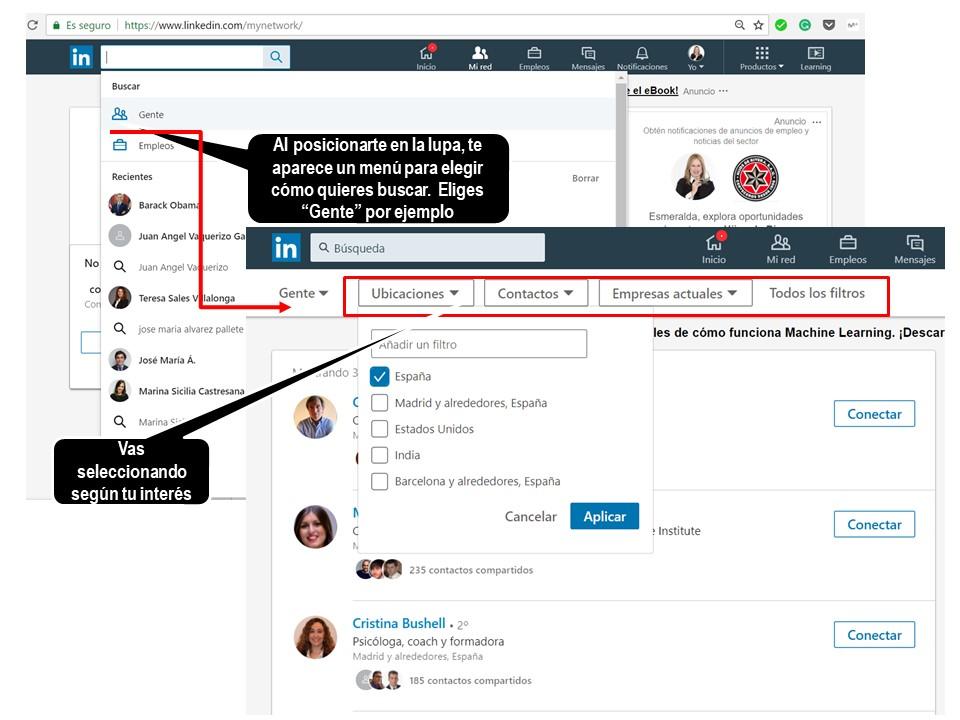 Menú de búsqueda avanzada para contactos en Linkedín