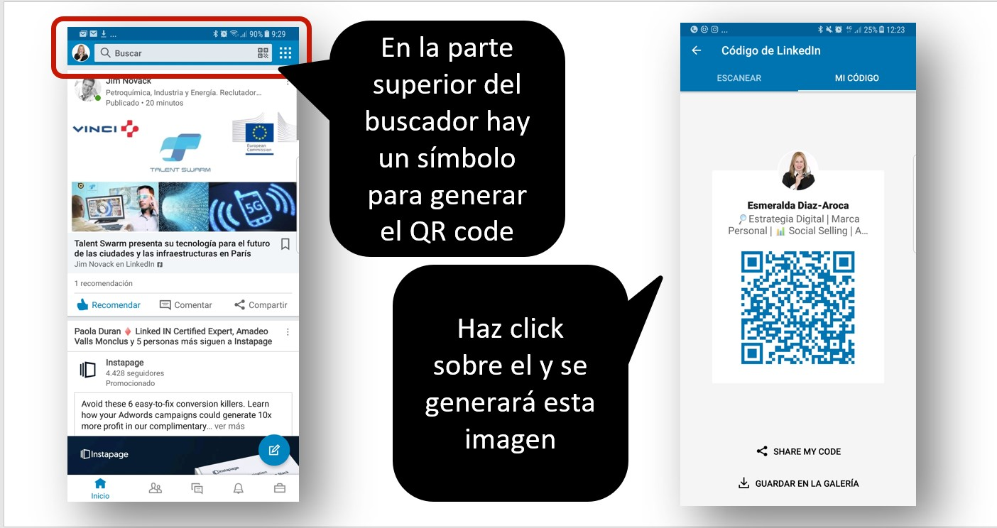 Código QR en LinkedIn