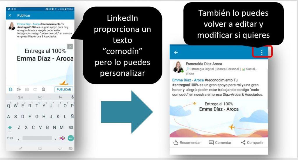 La herramienta en la app de LinkedIn para hacer un reconocimiento