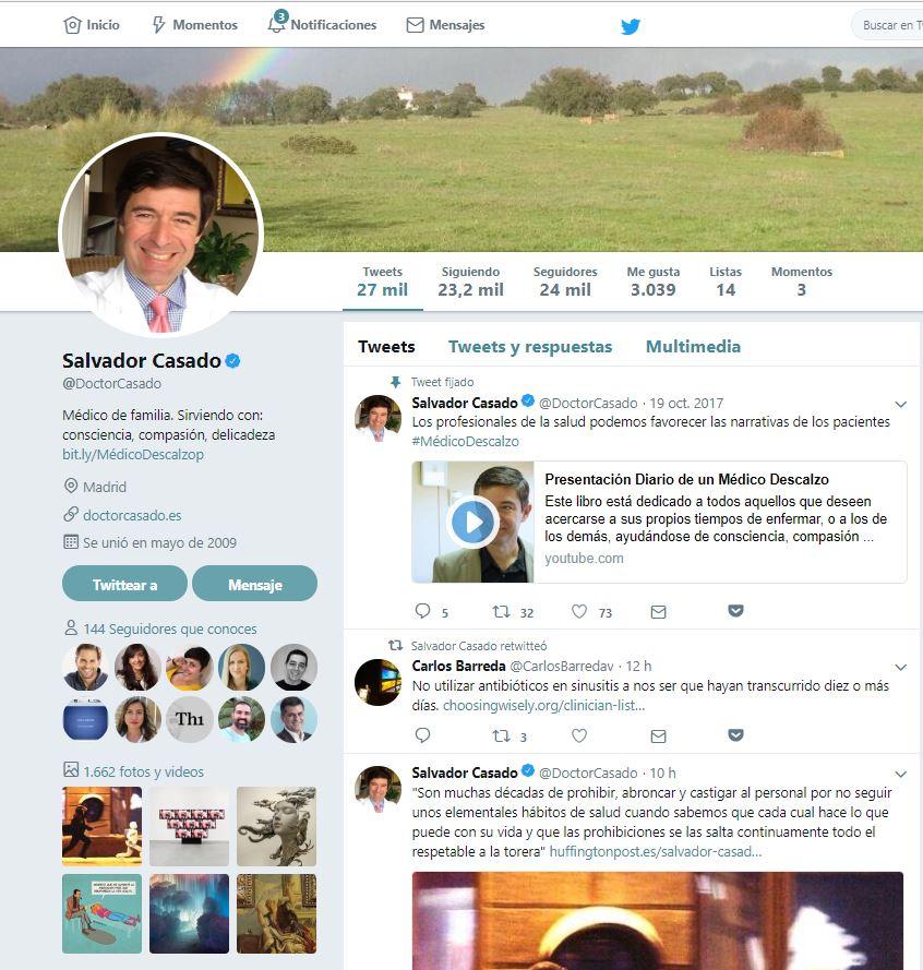 Marca personal para médicos. Twitter del Dr Salvador Casado