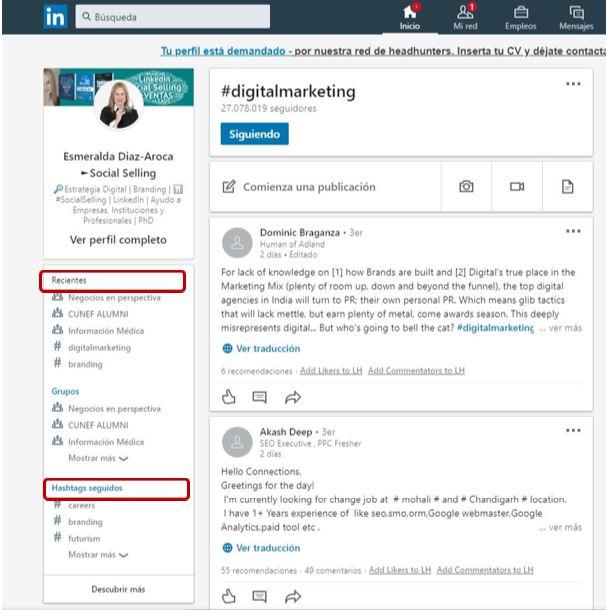 Búsqueda de hashtags en LinkedIn