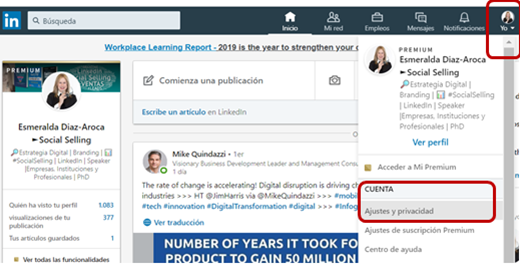 Cambiar tu perfil a público en LinkedIn