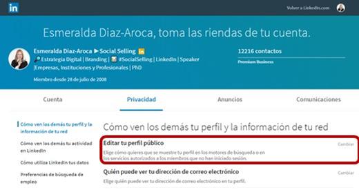Moidificar la privacidad de tu perfil en LinkedIn