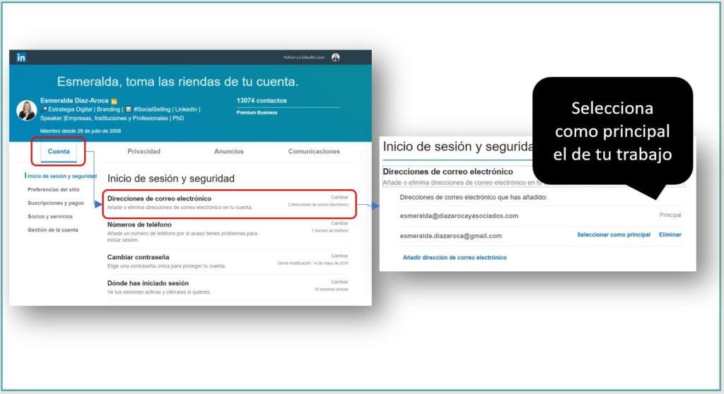Cambiando el email principal en LinkedIn