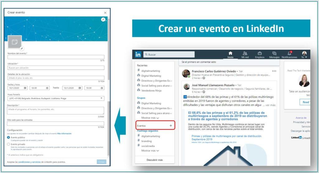 Creanbdo un evento en LinkedIn
