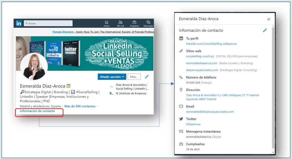 Actualizando la información de contacto en el perfil de Linkedin