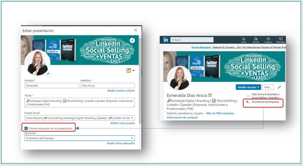 Añadiendo al perfil de LinkedIn la Universidad o Escuela de negocios