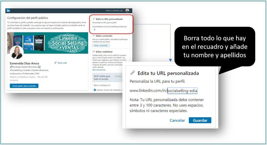 Personalizando la URL del perfil de LinkedIn