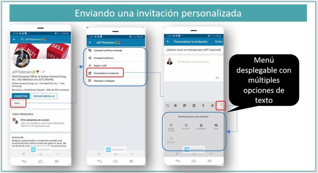 Enviando una invitación en LinkedIn desde la app movil